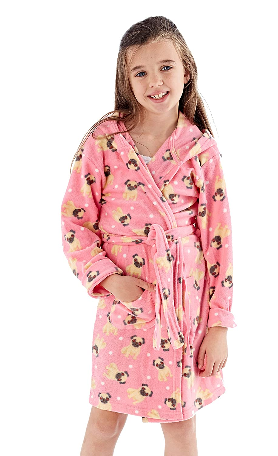 f5267f3cd INSIGNIA Girls Kids Dressing Gown Fleece Robe Wrap Bathrobe Animals ...