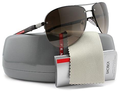 1c406429b51 Image Unavailable. Image not available for. Color  Prada Linea Rossa SPS56M  Men Aviator Sunglasses Gunmetal ...