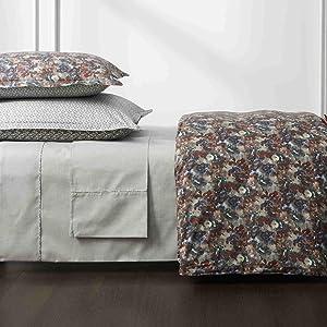Robert Graham Home Fine Line Flat Sheet - Luxurious 360 Thread-Count Long Staple Cotton - Charcoal (Queen)