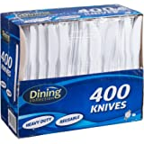 DINING COLLECTION 400-piece Disposable Plastic Knive Set, White (400)