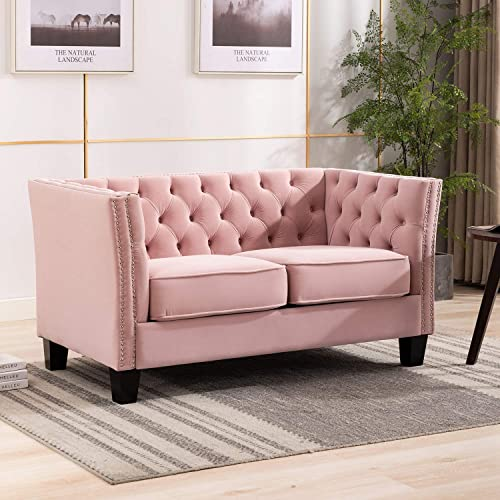 Artechworks Loveseat Sofa Velvet Upholstered Button Tufted Nailhead Trim