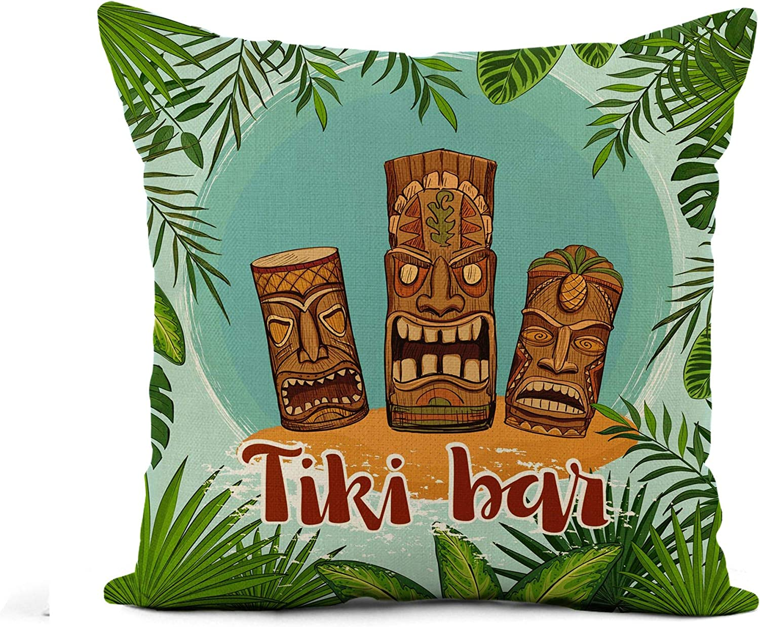 Awowee Flax Throw Pillow Cover Tiki Bar Traditional Hawaiian Idols Surrounded by Framework 18x18 Inches Pillowcase Home Decor Square Cotton Linen Pillow Case Cushion Cover