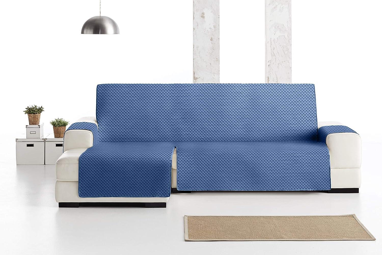 JM Textil Funda Cubre Sofá Chaise Longue Elena, Protector para Sofás Acolchado Brazo Izquierdo. Tamaño -240cm. Color Azul 03 (Visto DE Frente)