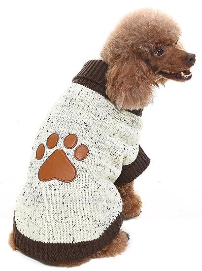 295026936 Amazon.com   XS Turtleneck Dog Sweater Brown Paw Pattern   Pet Supplies