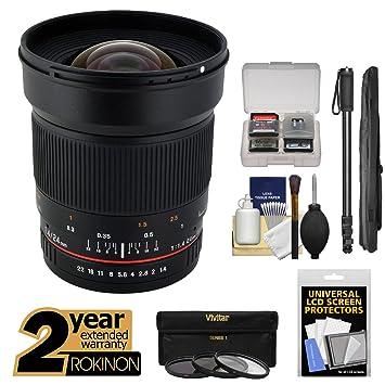 Rokinon 24 mm f/1,4 UMC gran angular lente con ext. Garantía + 3 ...