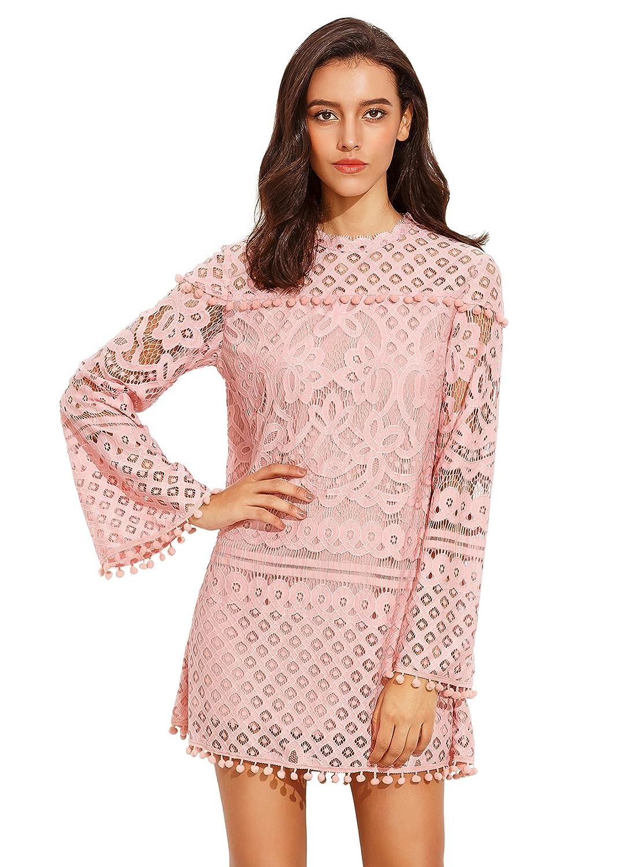 SheIn Women s Crochet Pom-Pom Sheer Lace Bell Sleeve Dress at Amazon Women s  Clothing store  b66e7c59a5
