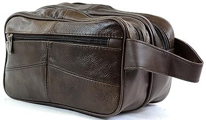 Bolsa de aseo para hombre, de piel, para artículos de aseo personal / viaje / vacaciones / pasar la noche fuera / fin de semana (color negro o marrón) ...