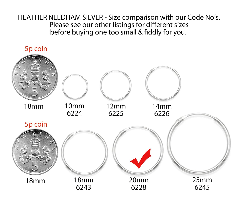 Une cr/éole pour homme en argent sterling 20/mm x 1,5/mm