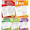 Scholastic Success with Grade 1 Complete 5 Book Set. Includes Math, Addition and Subtraction, Grammar, Reading Comprehension,