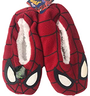 Little Boys Spiderman Slippers Babba Slip On Fuzzy Comfy Kids Glowing Slipper Grippers