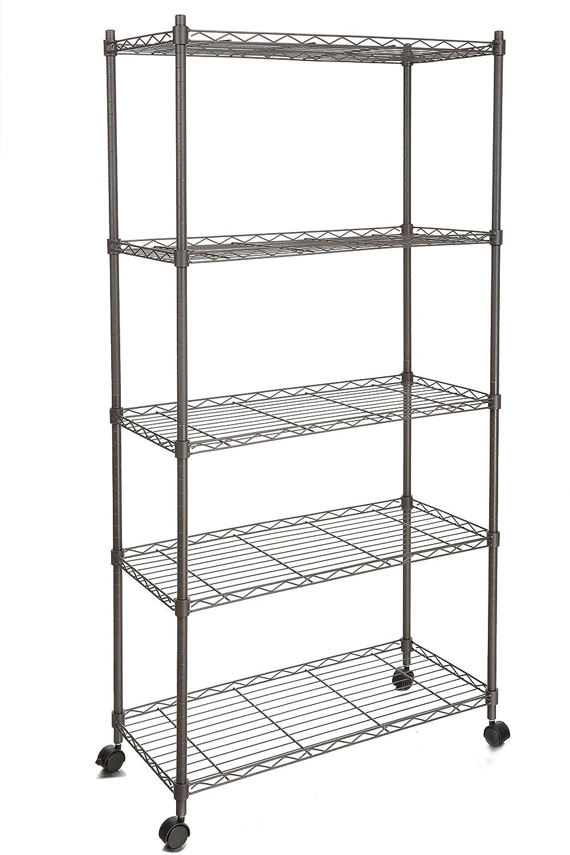amazon com homdox metal shelves 5 shelf shelving unit on wheels rh amazon com industrial metal shelves on wheels ikea metal shelves on wheels