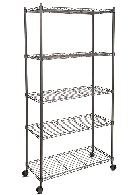 Amazon.com: Homdox Metal Shelves,5-Shelf Shelving Unit on Wheels ...