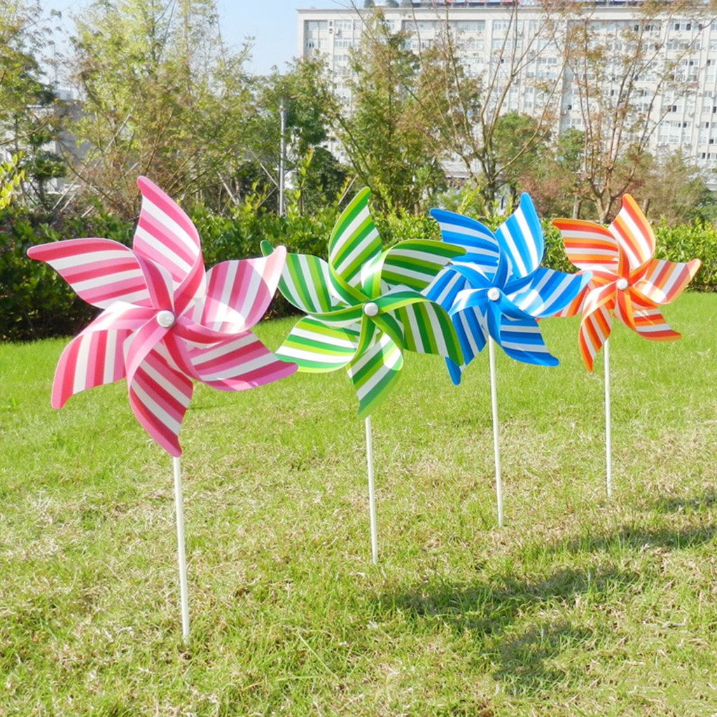 Autone Striped Windmill Kid Toys, Garden Decoration Ornament Colorful Outdoors Wind Spinner, 1PC Random Color