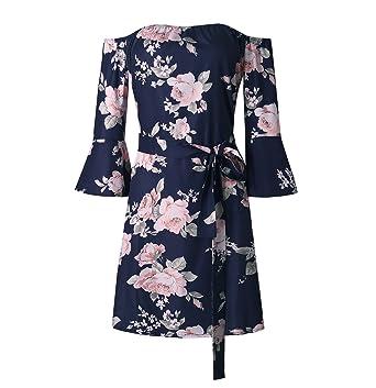 JIANLANPTT Women Casual Dress Off Shoulder Beach Dress Long Sleeve Floral  Mini Dress Blue S 3daa35512