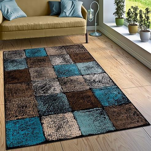 designer teppich wohnzimmer ausgefallene farbkombination karo trkis braun creme grsse80x150 cm - Wohnzimmer Turkis Braun