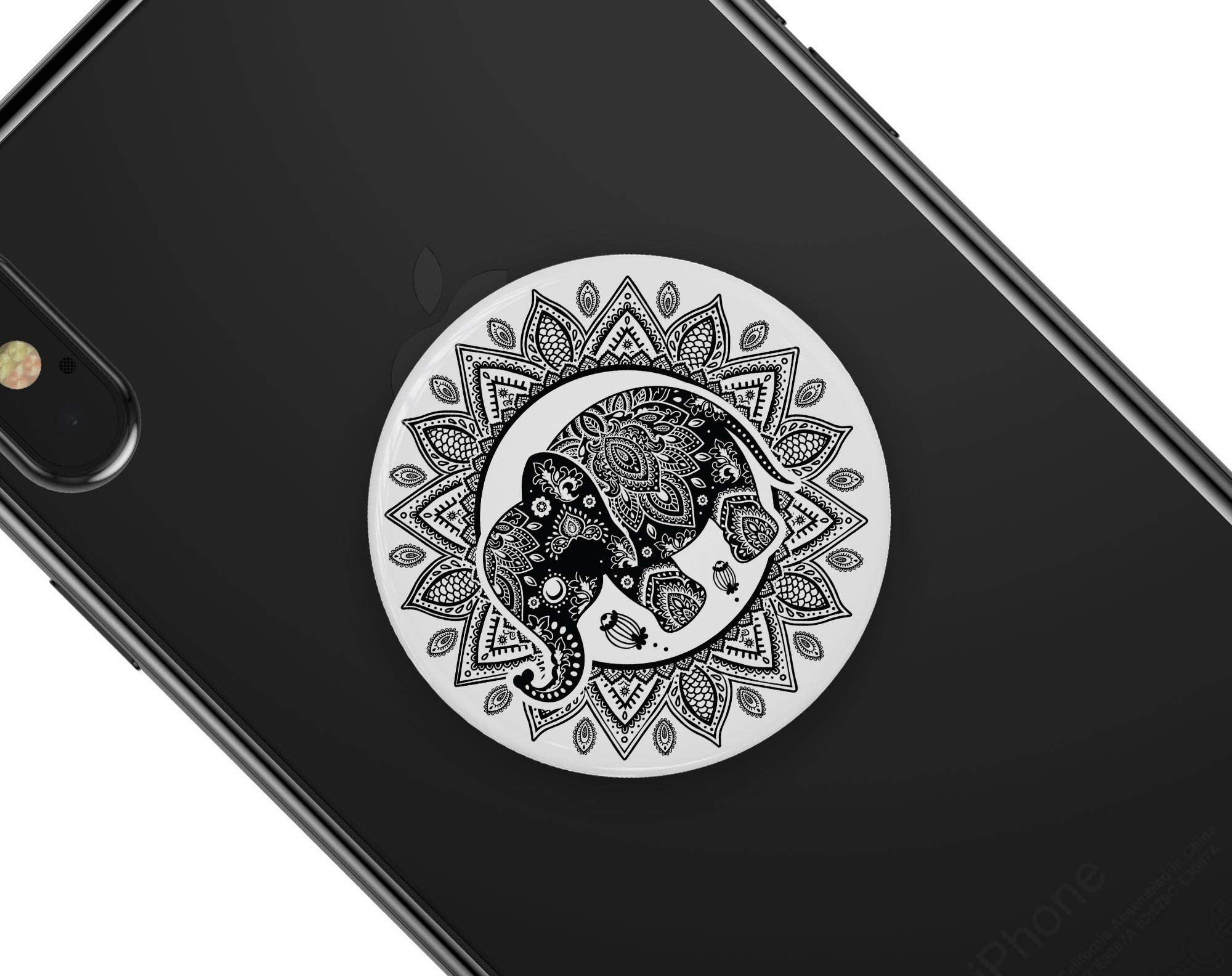 Indian Mandala Elephant - DesignSkinz Premium Decal Sticker Skin-Kit for PopSockets Smartphone Extendable Grip & Stand by iiRov (Image #4)
