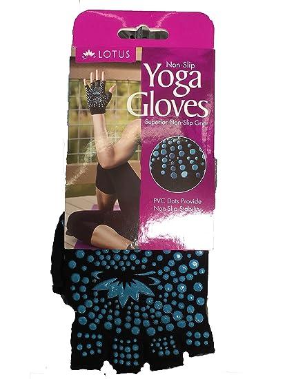 Lotus Yoga Gloves in Black/Blue-Green