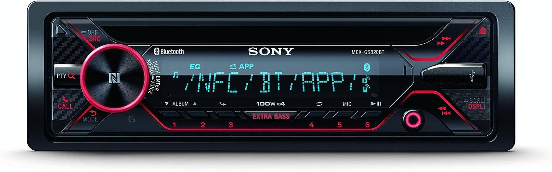 Sony MEXGS820BT Receptor Multimedia para Coche Negro Bluetooth - Radio para Coche (Negro, 1 DIN, 100 W, AAC,FLAC,MP3,WAV,WMA, LCD, A2DP,AVRCP,HFP,PBAP,SPP)
