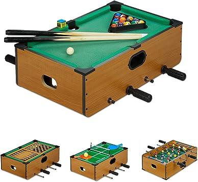 Relaxdays Mesa Multijuegos 6 en 1 Futbolín, Billar, Ping Pong, Ajedrez, Backgammon y Damas, Marrón, 15 x 51,5 x 51 cm, color (10022796) , color/modelo surtido: Amazon.es: Juguetes y juegos