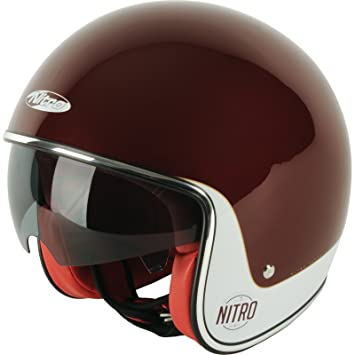 Nitro Casco Jet motocicleta casco x582 Tribute Candy Red/Cream S