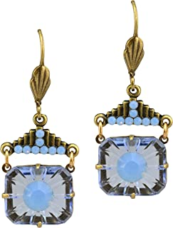 product image for Anne Koplik Antique Gold Plated Burst Dangle Earrings with Step-Top