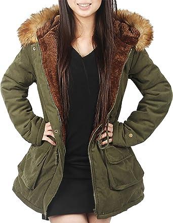 Amazon.com: 4HOW Womens Hooded Parka Jacket Warm Winter Coat Faux