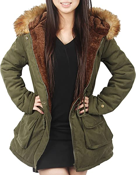 Womens Real Fur Hood Padded Winter Warm Fishtail Parka Jacket Oversize Fit Coat