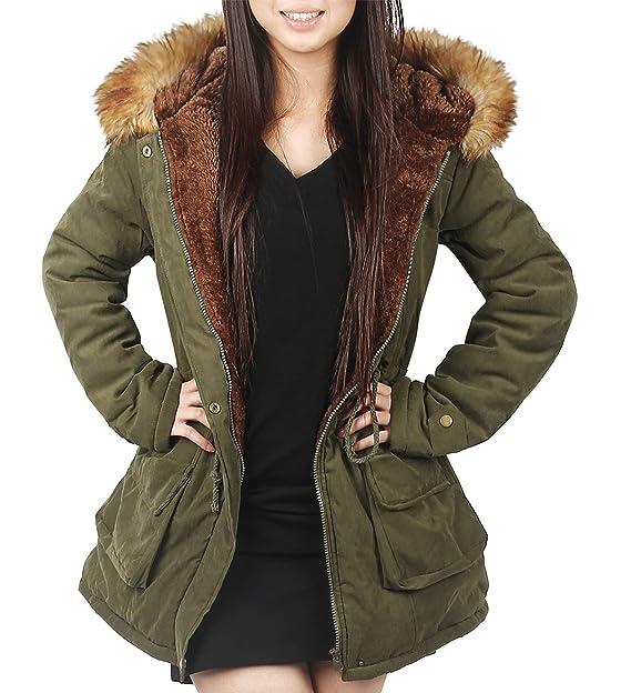 4How Womens Hooded Parka Jacket Warm Winter Coat Faux Fur Trim