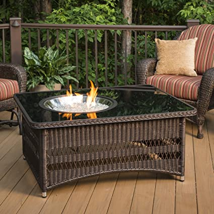 Amazoncom Outdoor GreatRoom Naples Chat Height Gas Fire Pit Coffee - Resin wicker fire pit table