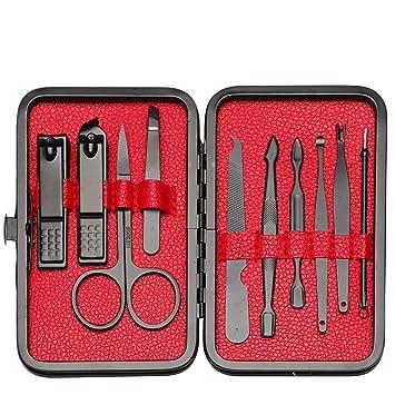 kit manicura Pedicura profesional 10 Set de tijeras uñas Acero Inoxidable, set manicura pedicura Cortaúñas Conjunto nail clippers, Herramientas de ...