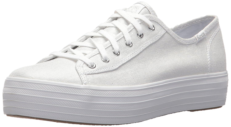 Keds Women's Triple Kick Metallic Linen Sneaker B071G9CQPD 6.5 B(M) US|Silver