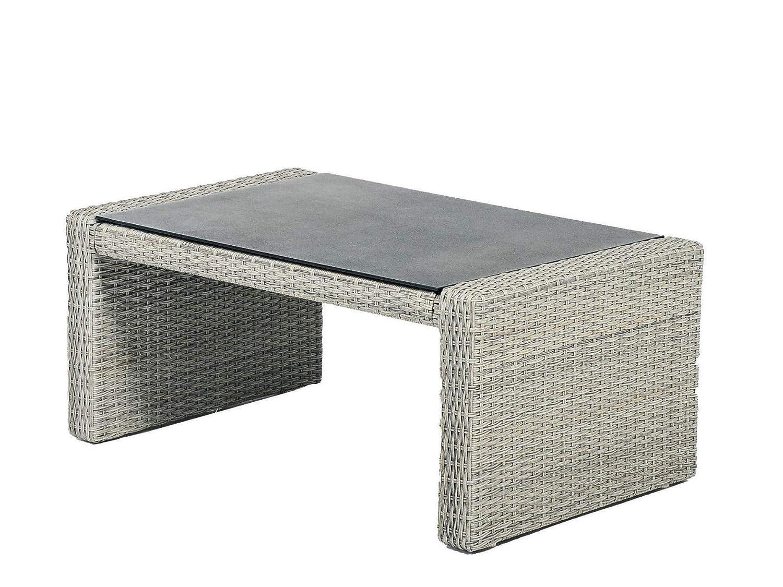 Tierra Barcelona - Tavolino da Giardino in polyrattan Vetro, 90 x 60 cm, colore  Grigio