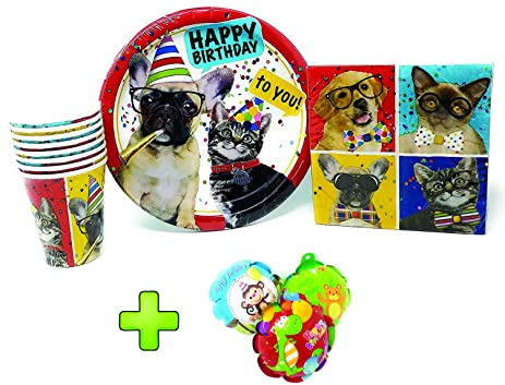 PartyDeiz Pets Party Packs (10 Paper Plates 20 Napkins and 8 paper cups)  sc 1 st  Amazon.com & Amazon.com: PartyDeiz Pets Party Packs (10 Paper Plates 20 Napkins ...