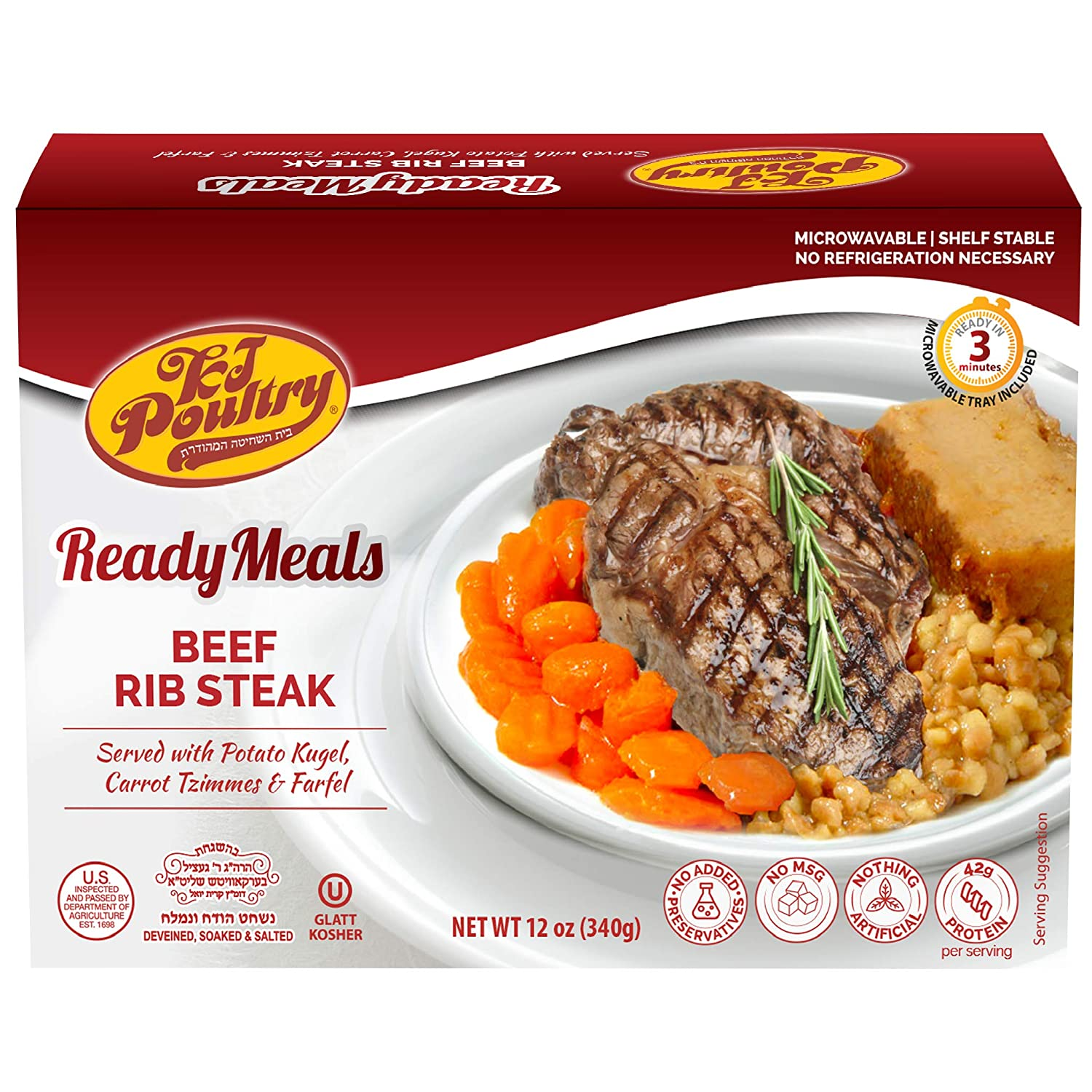 Kosher Mre Meat Meals Ready to Eat, Beef Rib Steak & Potato Kugel (1 Pack) - Prepared Entree Fully Cooked, Shelf Stable Microwave Dinner – Travel, Military, Camping, Emergency Survival Canned Food