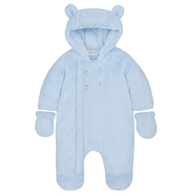 440995db6 BABY TOWN Babies Snowsuit Pram Suit Snuggle Fleece Lined Pink Cream Blue  Grey Detachable Mitts: Amazon.co.uk: Clothing