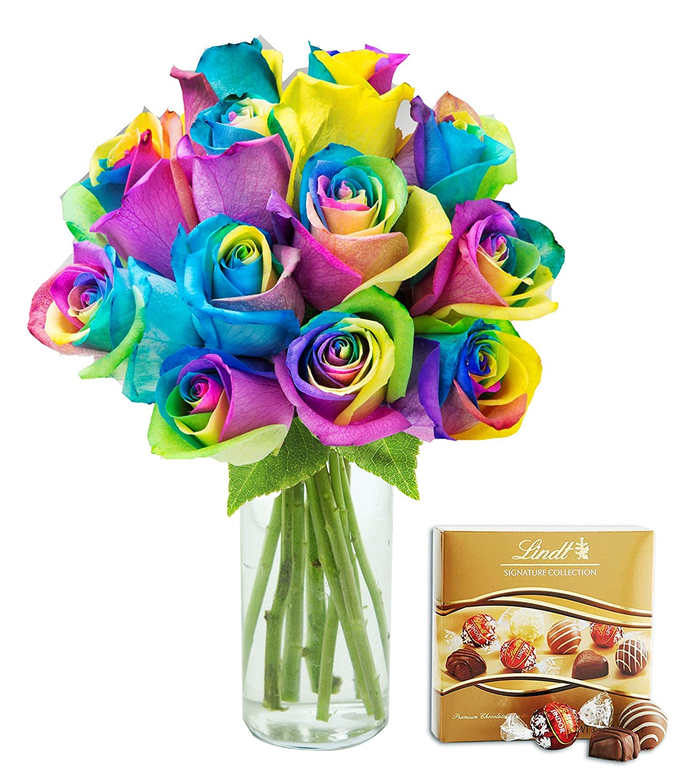 Amazon.com : KaBloom Bouquet of Fresh Cut Rainbow Roses: 12 Rainbow ...