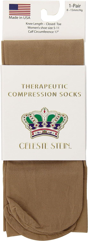 Celeste Stein Therapeutic Compression Socks, Nude, 8-15 mmhg, 1-Pair: Health & Personal Care