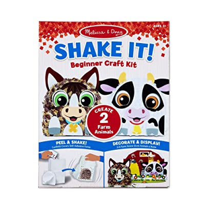 "Melissa & Doug Shake It! Farm Animals Beginner Craft Kit - Confetti-Covered Cow and Horse (4"" x 1.5"" Each): Toys & Games"