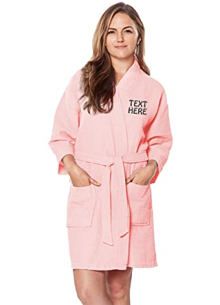 ea0955ee9e Image Unavailable. Image not available for. Color  Personalized Embroidered  Robes – Custom Waffle Kimono Robe – Monogrammed Bathrobes