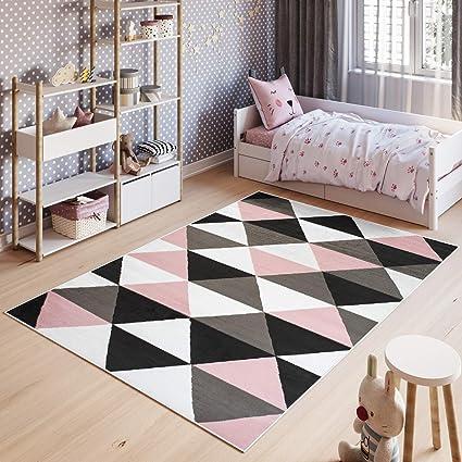 Tapiso Pinky Tapis De Chambre Enfant Bebe Ado Design Moderne Rose Gris Blanc Noir Geometrique Triangles Doux Fin 80 X 150 Cm