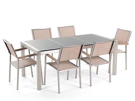 Beliani Conjunto de jardín Mesa con Tablero Gris de Piedra Natural 180 cm, 6 sillas Beige GROSSETO: Amazon.es: Hogar