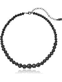 "1928 Jewelry Black Beaded Adjustable Strand Necklace, 15"" + 4"" Extender"