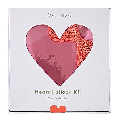 Amazon.com: Meri Meri Heart Foil Mylar Balloons, 45-2603, Set of 6 ...