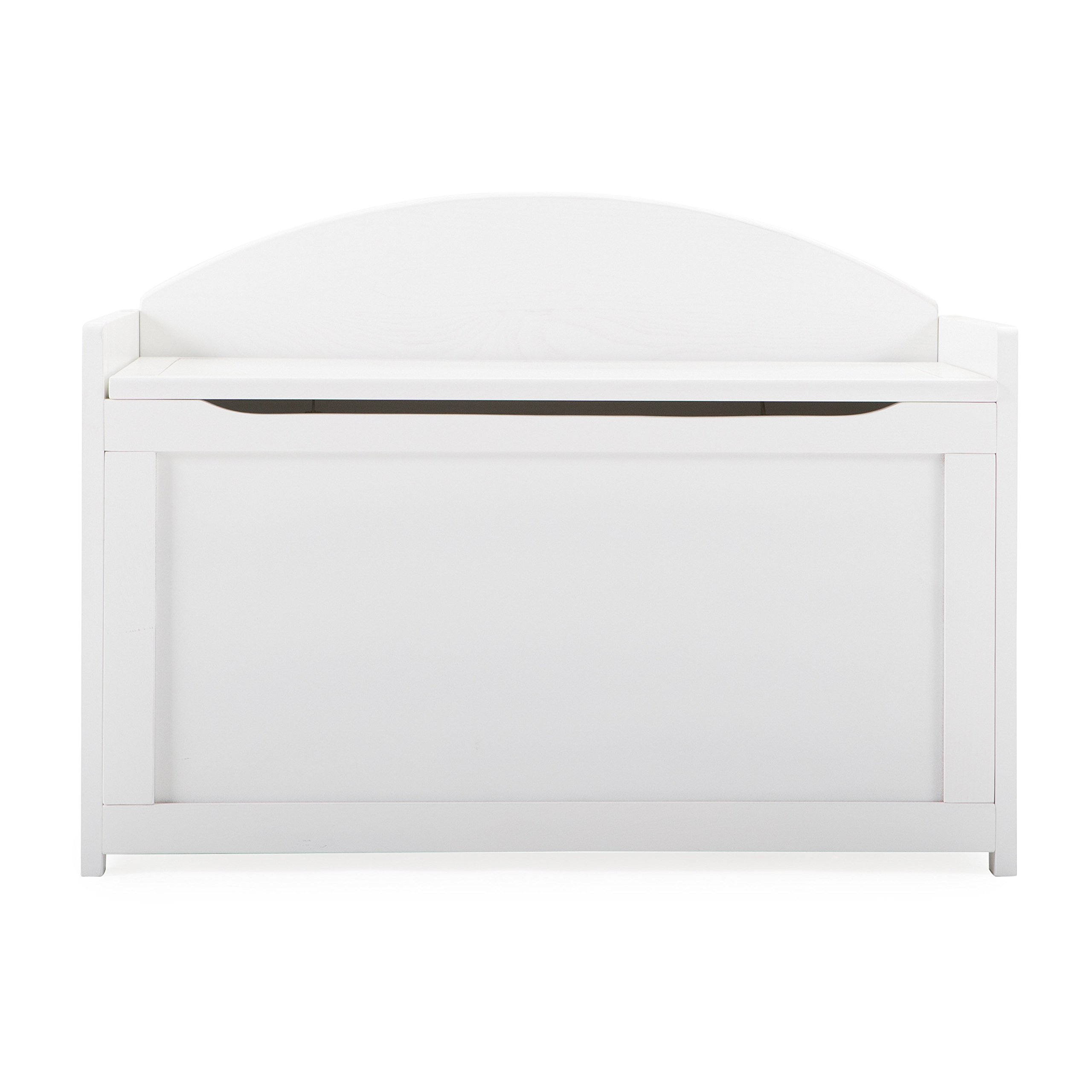 Elegant Toy Storage Chest With Durable Beech Wood Construction, White Finish, Air Holes Provided For Hide-N-Seek, Doubles As A Bench, Built-In Handles For Transport, Tight Safety Hinges