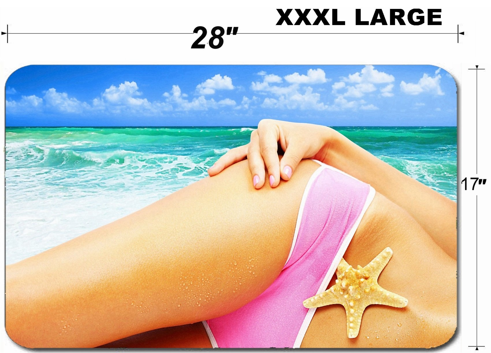 Liili Large Table Mat Non-Slip Natural Rubber Desk Pads Beautiful female body on the beach conceptual image of vacation spa travel Photo 9590836