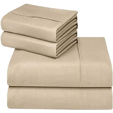 Utopia Bedding 4-Piece King Bed Sheet Set (Beige)