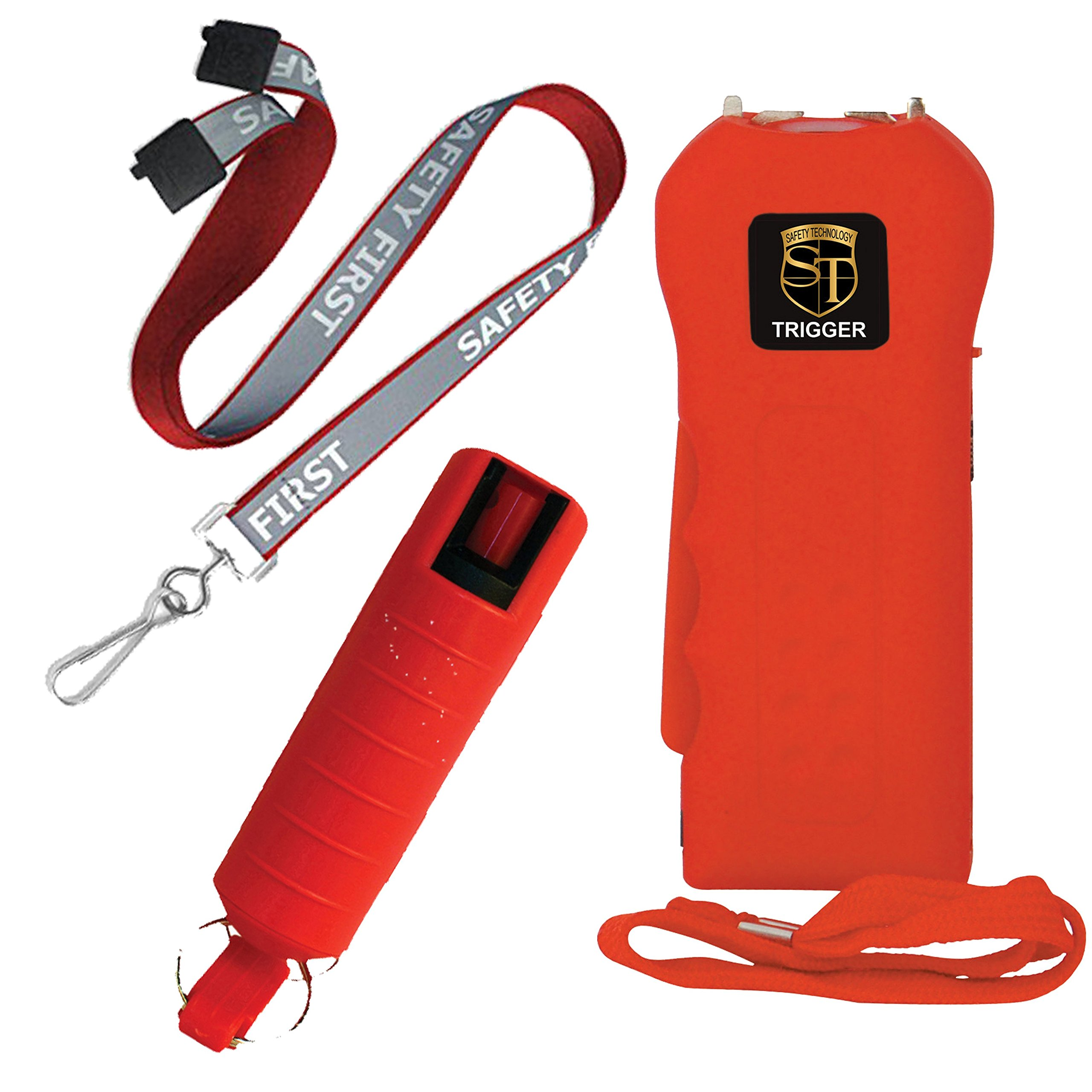 TRIGGER College Safety Bundle 18 MIL Stun Gun, Pepper Shot 10% Pepper Spray and a 36 Inch Reflective Breakaway Lanyard - Lot of 3 as Shown RED