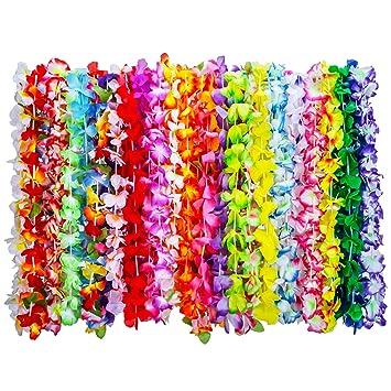 36 pieces tropical hawaiian luau flower leis necklaces for beach