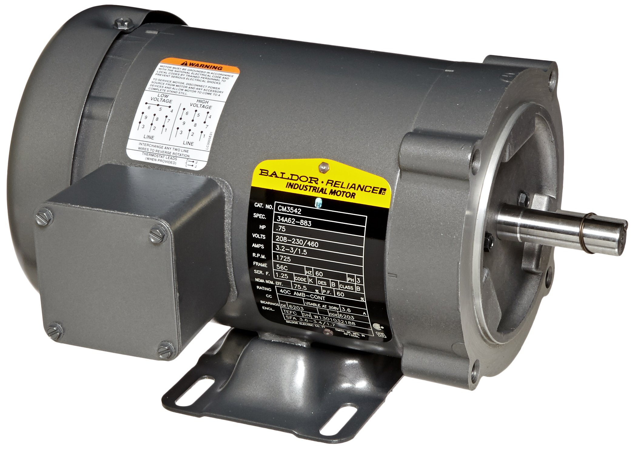 Baldor CM3542 General Purpose AC Motor, 3 Phase, 56C Frame, TEFC Enclosure, 3/4Hp Output, 1725rpm, 60Hz, 208-230/460V Voltage by Baldor