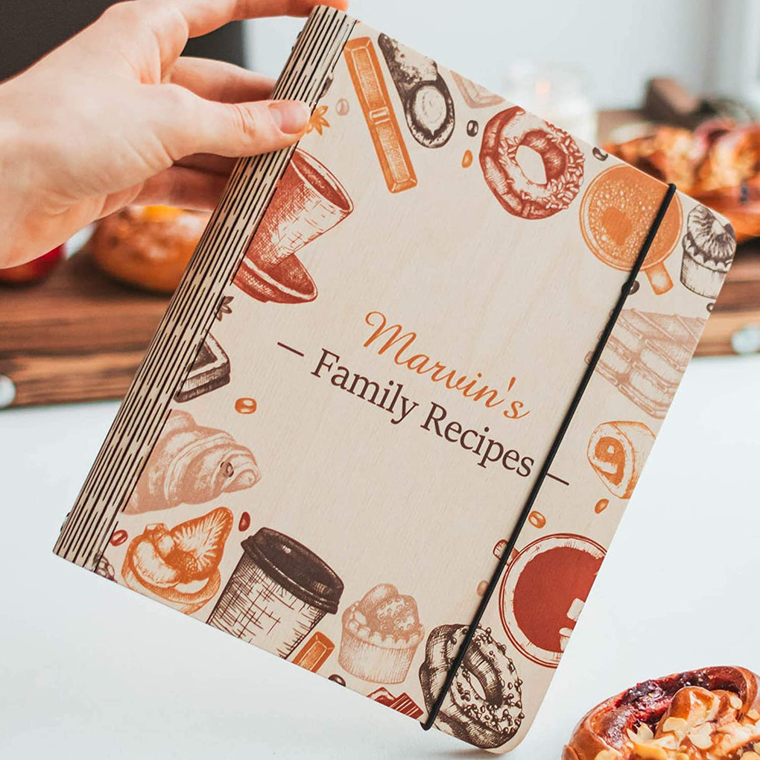 Family Cookbook Custom Sketchbook To Write In Organizer by Enjoy The Wood Personalized Recipe Notebook with printings Wooden Blank Recipe Book Binder Journal